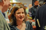 Eve Bridburg, founder of Grub Street of Boston, at Newtonville Books grand opening
